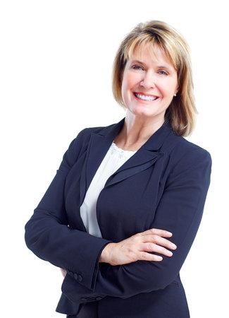 mujer sola: Mujer de negocios. Aislado sobre fondo blanco.