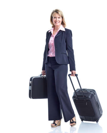 business trip: Traveling business woman. Isolated over white background.