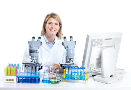 Medical doctor working at laboratory.