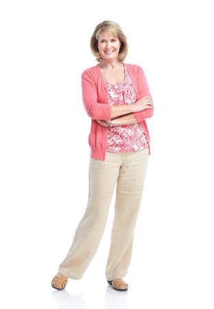 abuela: Mujer senior. Aisladas sobre fondo blanco.