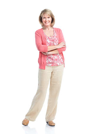 Senior woman. Isolated over white background.