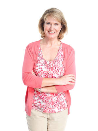 Senior vrouw. Geà ¯ soleerd op witte achtergrond. Stockfoto