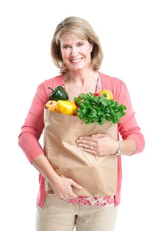 Senior woman. Shopping. Isolated over white background. photo