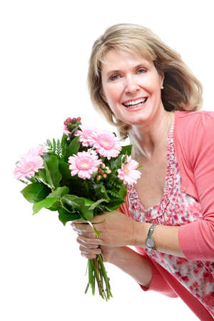 isoladed: Woman with flowers. Isoladed over white background.