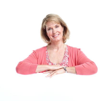 one senior adult woman: Mujer senior. Aisladas sobre fondo blanco.