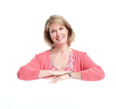 advertising woman: Senior woman. Isolated over white background.