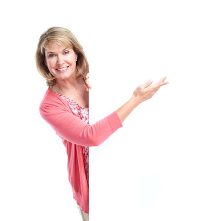 woman pointing: Senior woman. Isolated over white background.