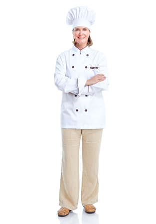 one senior adult woman: Chef.  Isolated over white background. Stock Photo
