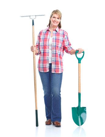 giardinieri: Donna di giardinaggio. Isolato su sfondo bianco. Archivio Fotografico