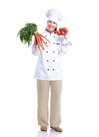 Chef with vegetables. Isolated over white background. photo