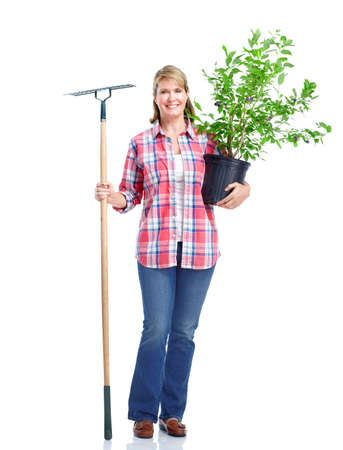 rake: Senior woman. Gardening.  Isolated over white background. Stock Photo