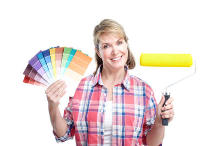 painter and decorator: Painter woman. Renovation.  Isolated over white background.