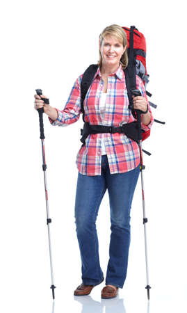 trekking pole: Senior woman. Hiking.  Isolated over white background.