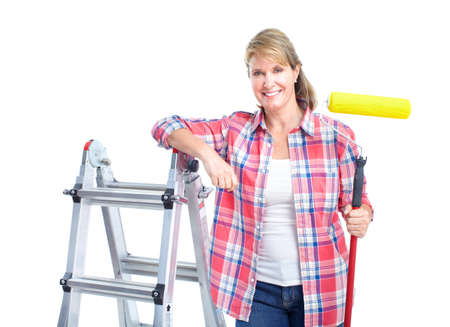 home decorating: Painter woman. Renovation.  Isolated over white background.