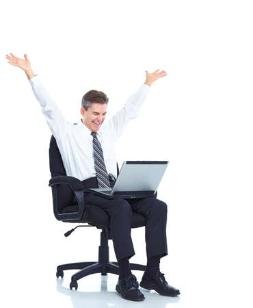 notebook: Happy business man with laptop. Stock Photo