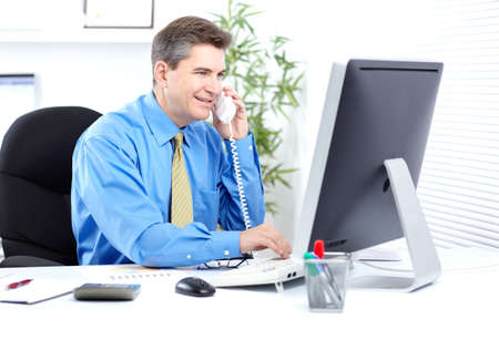 internet banking: Businessman. Stock Photo