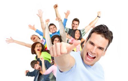 gente loca: Gente feliz. Foto de archivo