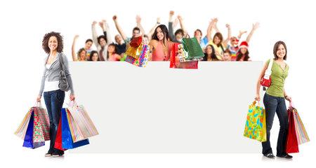 gl�cklicher kunde: Einkaufen Frau