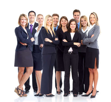 staff meeting: Business people team.  Isolated over white background.