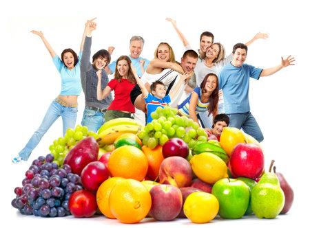 frutas divertidas: Gente feliz. Foto de archivo