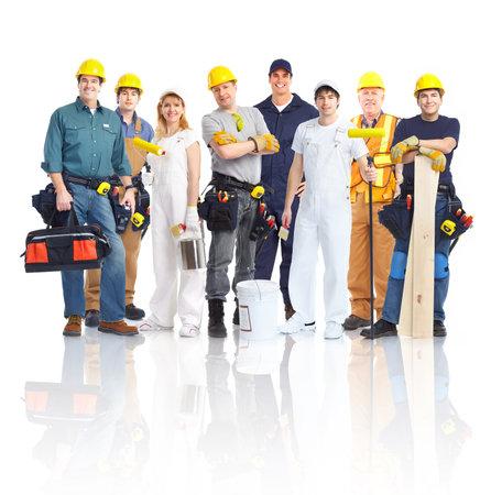 obreros trabajando: Personas de los trabajadores contratistas. Foto de archivo