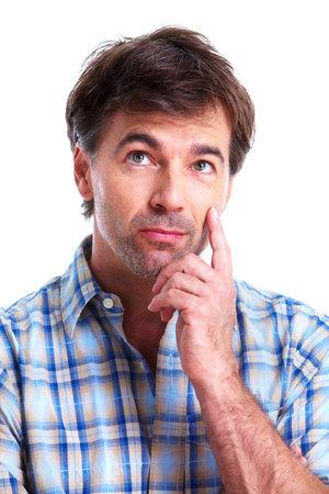 man thinking: pens�e de l'homme Banque d'images