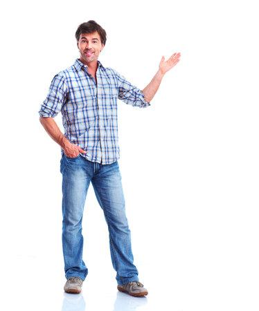 Man showing a copyspace