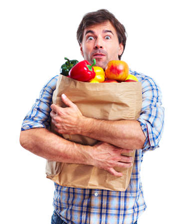 man holding a bag of grocery, shocked photo