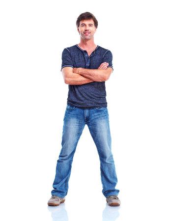 mani incrociate: uomo in piedi con le braccia conserte Archivio Fotografico