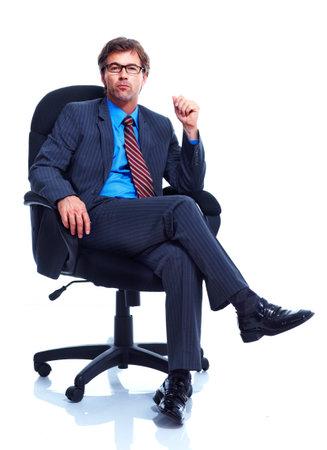 persona sentada: Hombre de negocios.