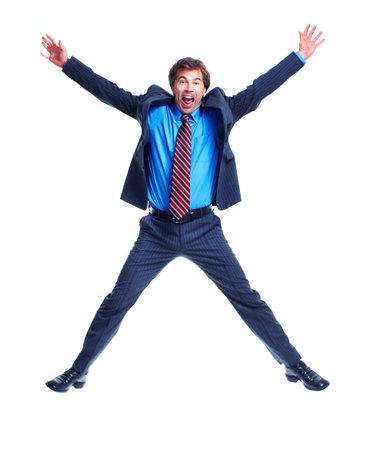 persona saltando: Hombre de negocios.