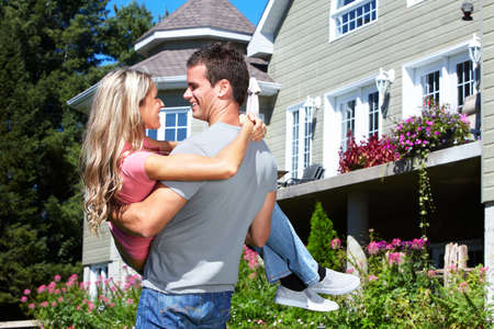 real estate house: Happy couple.