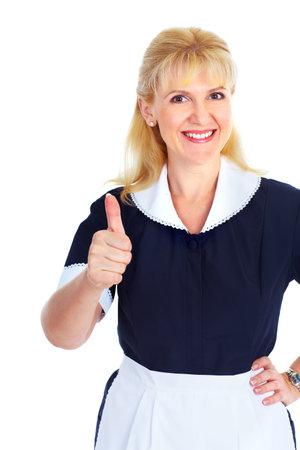 sirvienta: Mujer de limpieza. Foto de archivo