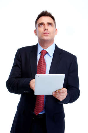 tablet: Business man. Stock Photo