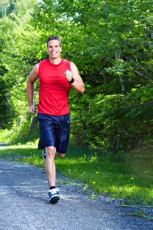 jogging in park: Jogging man. Stock Photo