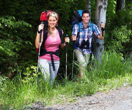 walking pole: Hiking people Stock Photo