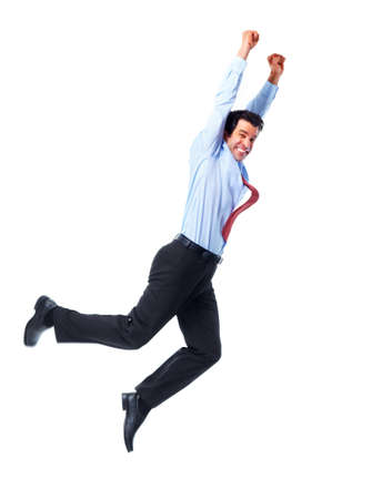 leaping: Business man. Stock Photo