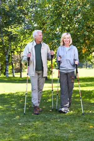 walking pole: Hiking people.