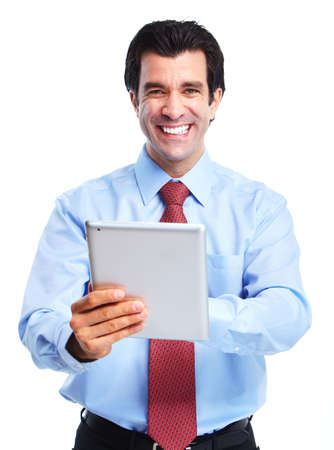 tablet: Businessman. Stock Photo