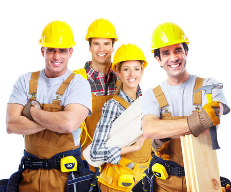 construction workers: Industrial contractors workers people. Isolated over white background