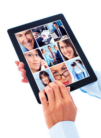 tablet pc in hand: Tablet computer. Stock Photo