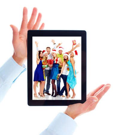 computer dancing: Tablet computer. Stock Photo