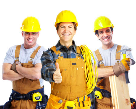 constructors: Industrial contractors workers people. Isolated over white background