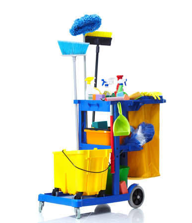 mopping: Janitor cart.