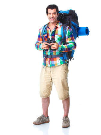 ハイカーの観光客の男。ハイキング。