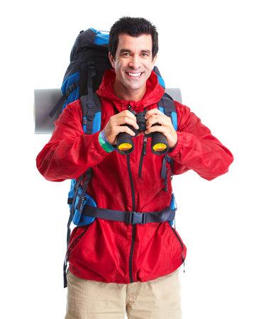 Hiker tourist man . Фото со стока
