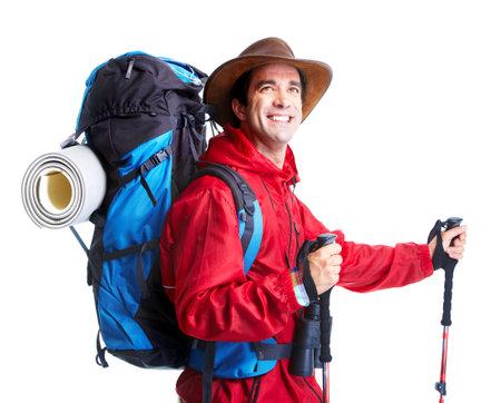 Hiker tourist man . Hiking. photo