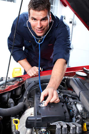 motor mechanic: Auto mechanic. Stock Photo