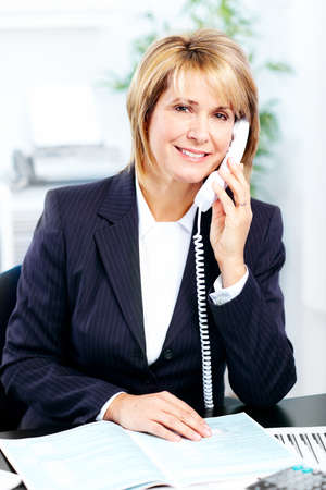 oficinista: Mujer de negocios. Foto de archivo