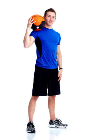 sportive: Man with ball. Stock Photo